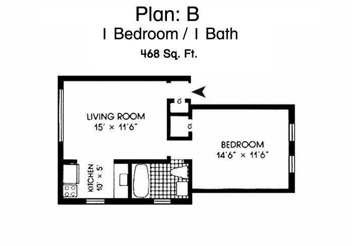 Morningsid Gardens One Bedroom Apartment Floor Plan - 1 Bed, 1 Bath, 468 Sq Ft.
