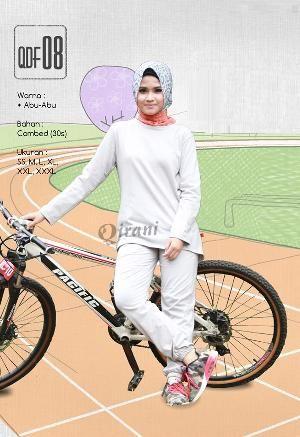 Baju Olahraga Sport Qirani Fresh Model QDF-08 Abu-Abu