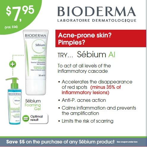 This trial kit is design to prevent the appearance of blemishes by targeting the causes of acne. It contains: Sébium Foaming Gel - 45 ml, Sébium AI - 15 ml and a $5 coupon on your next purchase of a regular Bioderma product. In store only.
