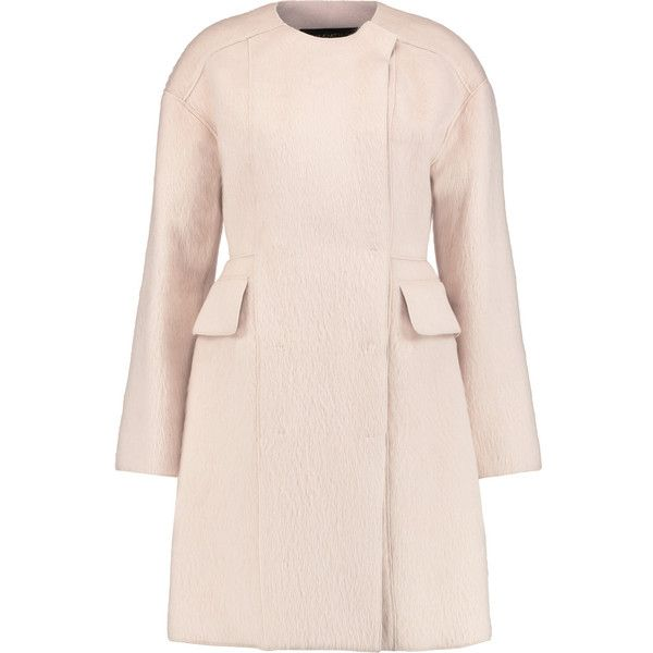 Giambattista Valli Oversized alpaca and wool-blend coat ($1,280) ❤ liked on Polyvore featuring outerwear, coats, baby pink, double-breasted coat, wool blend coat, pastel coat, wool blend double breasted coat and pink oversized coat