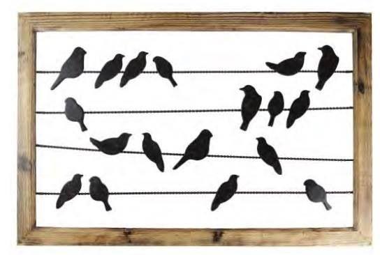 Iron and wood bird frame