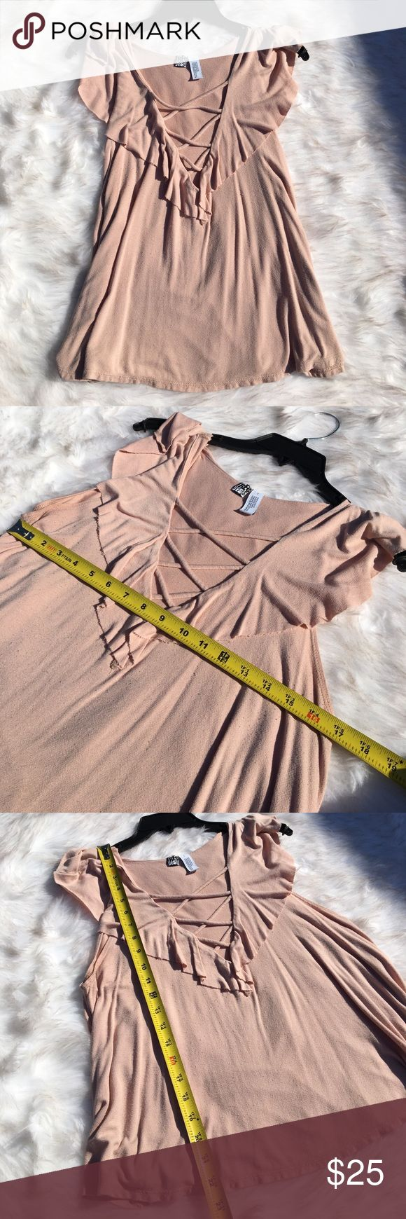 ✨BEST OFFER✨ Sexy Laced Blouse Used. Good Condition. No stains, or tears. Slight wear due to washer. Otherwise, good condition. Purchased at Nordstrom. Very sexy ruffled blouse with lace design over cleavage. Please check measurements prior to purchase 🚫 NO TRADES 🚫 Nordstrom Tops Blouses