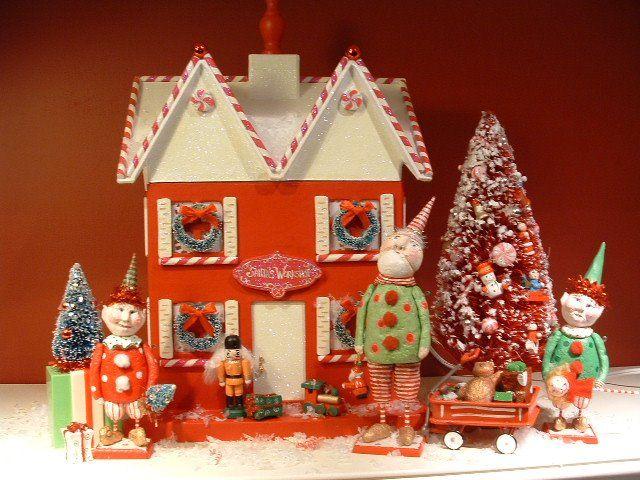 kim hardt originals papier mache lighted christmas house with santa and elves - Lighted Christmas Houses