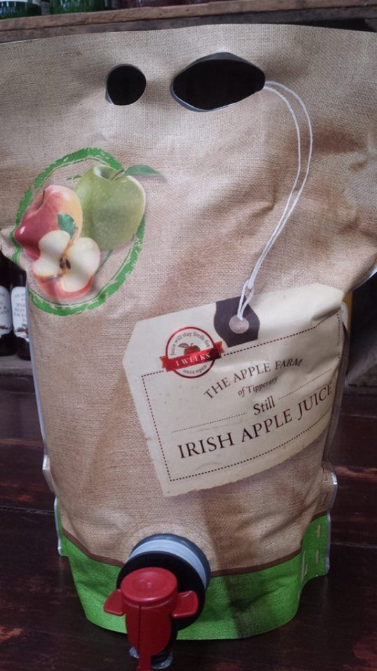The Apple Farm We have been making a new three litre juice pouch for the last week. As a launch celebration, we are literally giving them away. One free pouch (normal value €8.00) free when you spend €12 or more on apples at our farm shop. Offer ends Oct 17th 2014