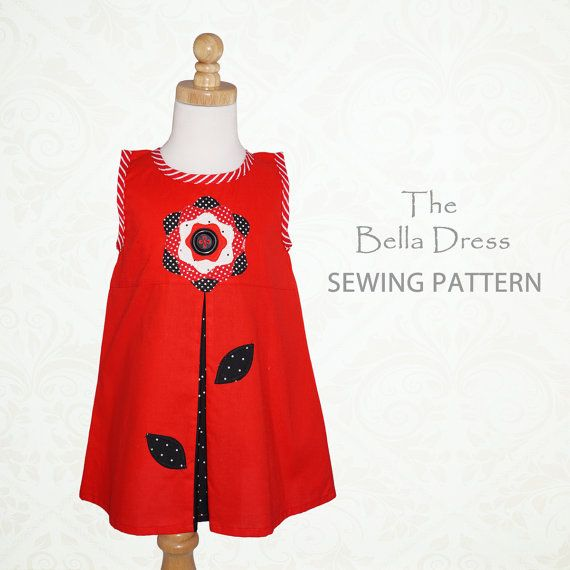 Sewing pattern PDF for a girls dress, Childrens sewing pattern, Toddler sewing pattern, BELLA