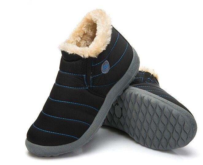 New Fashion Men Winter Shoes Solid Color Snow Boots Plush Inside Antiskid Bottom Keep Warm Waterproof Ski Boots In 2020 Schuhe
