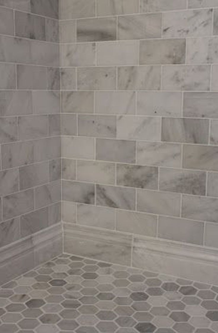 Best 25 beige tile bathroom ideas on pinterest tile shower i like the baseboard tile large gray and white marble subway tile on shower wall and baseboard with a hexagon pattern on the floor dailygadgetfo Gallery