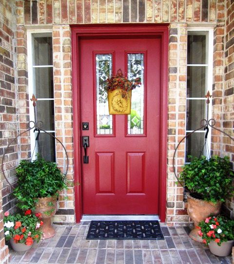 Red front door to brick house home pinterest - Front door colors for brick houses ...