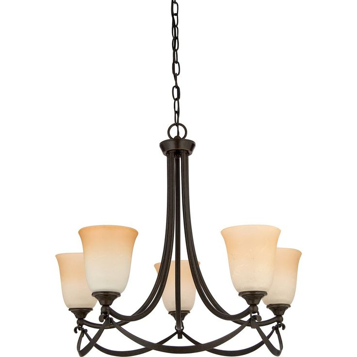 Dining Room Light Fixtures Lowes: Allen + Roth LWS0333C 5-Light Drape Imperial Bronze