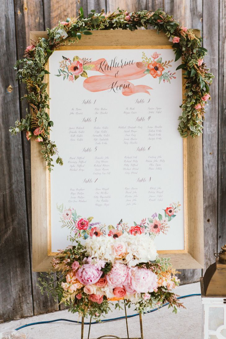 Beautiful customized seating chart decorated with hand-painted florals, whimsical script and an elegant gold frame | Studio Finch Photography