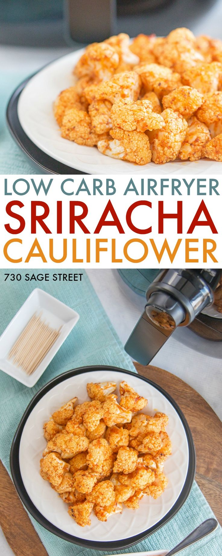 Spice up game day with this delicious Sriracha cauliflower bites airfryer recipe. #lowcarb #appetizer #gameday #cauliflower