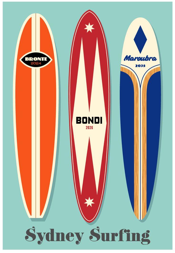 Sydney Surfing Art Print by RussellTate.Com