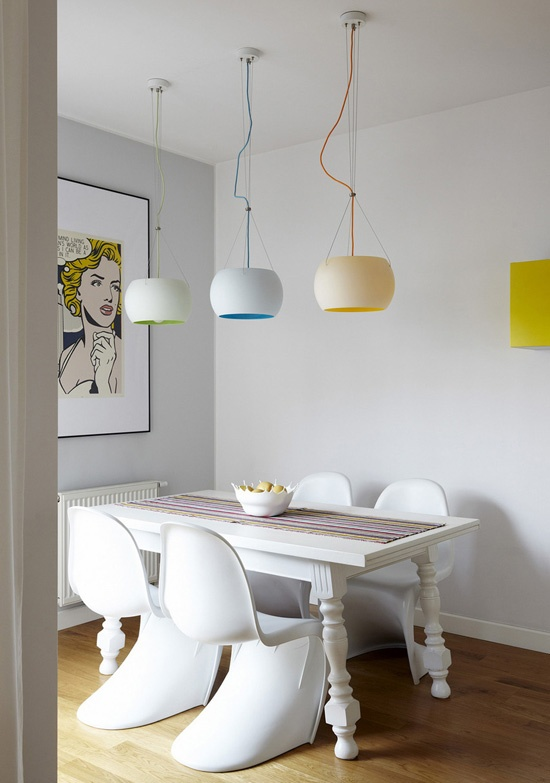 Interior Design Magazine Verner Panton Chairs And Glass Pendant Fixtures Combine With A Refinished Vintage Table In The Dining Area At This Warsaw