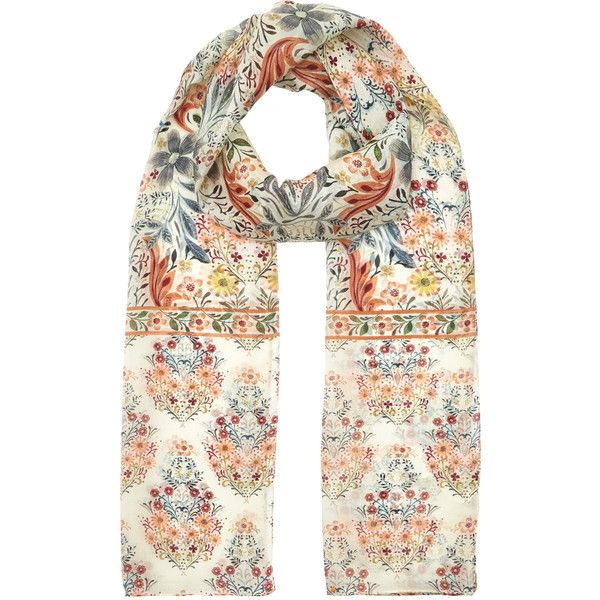 Accessorize Arts And Crafts Silk Classic Scarf (30 CAD) ❤ liked on Polyvore featuring accessories, scarves, pure silk scarves, floral print scarves, floral scarves, silk shawl and silk scarves