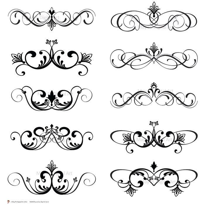 word clip art wedding embellishments | Digital Clip Art Clipart Vintage Inspired Flourish Swirls Digital ...