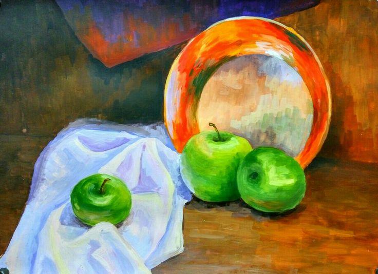 Натюрморт, яблоки, тарелка драпировка
