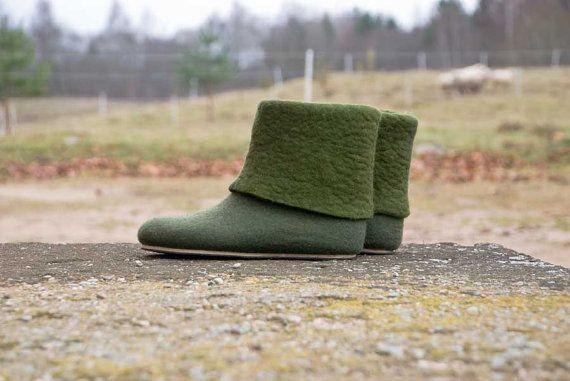 Botas de mujer de lana fieltro pantuflas de por BureBureSlippers