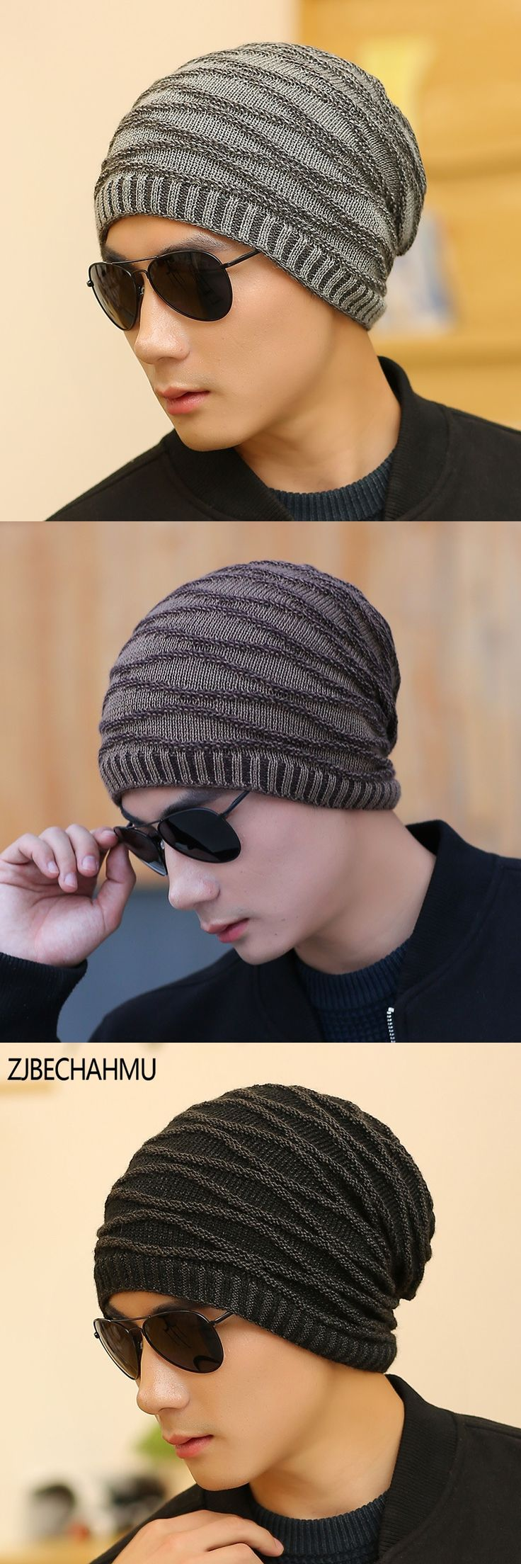 Casual Fashionable  Mens Winter Hat Beanie Hats Fur Warm Baggy Knitted Skullies Bonnet Ski Sports Adult Cap New Arrival Beanies