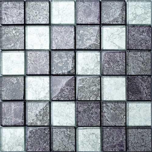 Grey Hong Kong Foil Mix Glass Mosaic Tiles MT0092