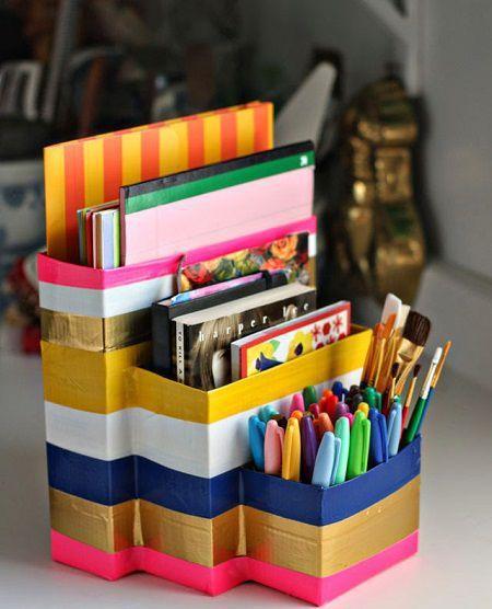 Como hacer un organizador escolar reciclado