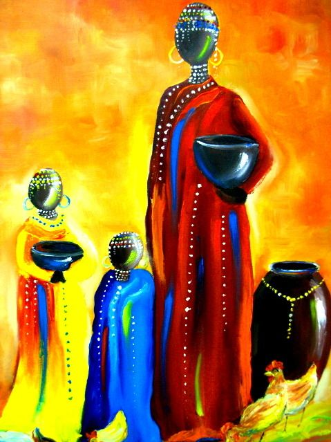 Wittstock, Danielle: African mother and children: Africanart Art, Art Mothers, Abstractart Artworks, Artworks Oilpaint, Contemporary Art, Rich Colors, Africans Art, Art Contemporaryart, Africans Mothers