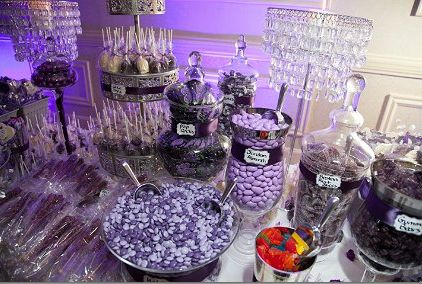 purple and silver wedding candy buffet tables | Purple Candy Buffet Planning