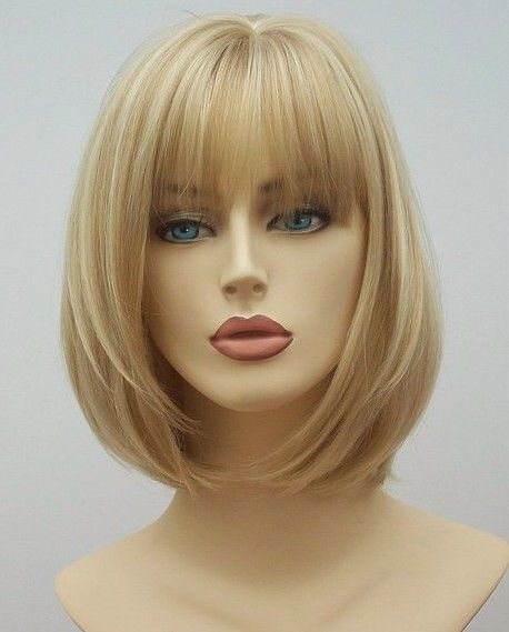 Blonde bob wig Angel is made with heat resistant fibre, fabulous ladies blonde bob wig, skin top parting and fringe, a wonderful ladies wig from Wig Store
