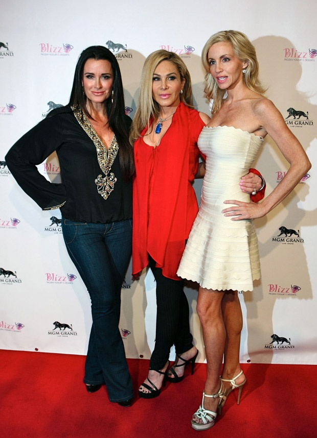 Kyle Richards, Adrienne Maloof, and Camille Grammer at the Vegas Opening of Blizz Frozen Yogurt