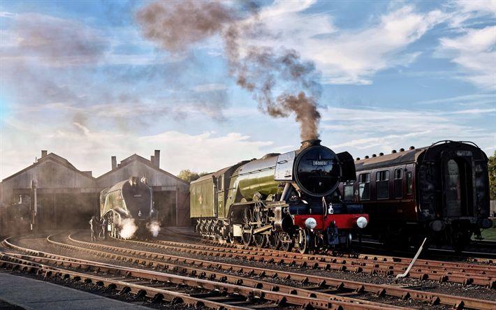Lataa kuva vanhat junat, kiskot, veturit, höyryveturien