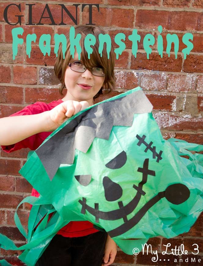 Make GIANT floating Frankensteins. Great homemade Halloween decorations that work really well as a party craft activity and party favour too...