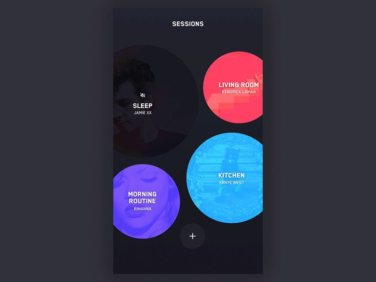This is the gesture music player skin created for one of our clients. Each circle represents room with different songs. You can mute session with long press and drag to delete.   Be sure to follow ...