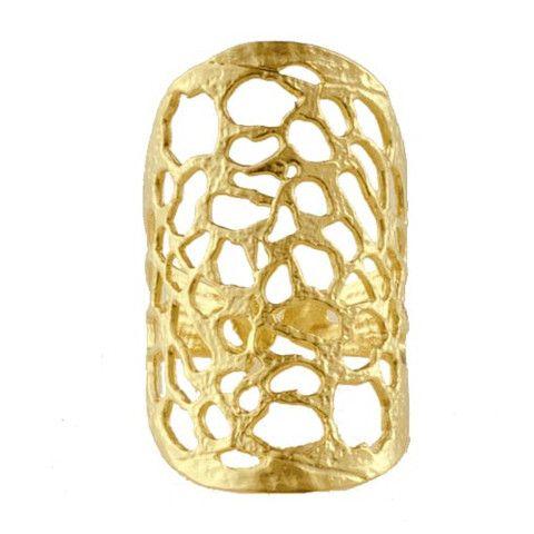 Handmade Gold Plated Bronze Long Ring