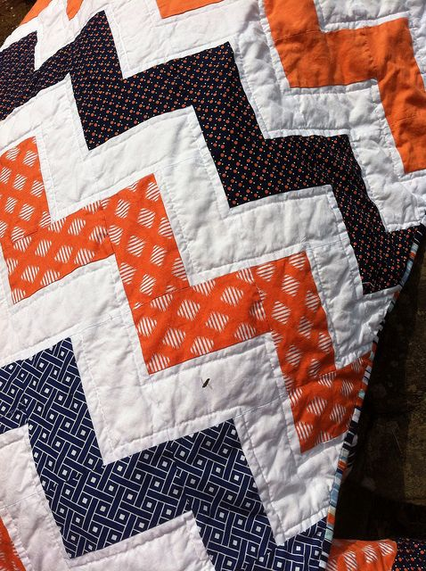 Love the colors and the warmth: Chevron #Auburn quilt.  ~ Check this out too ~ RollTideWarEagle.com sports stories that inform and entertain and Train Deck to learn the rules of the game you love. #Collegefootball Let us know what you think. #WarEagle