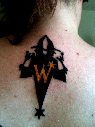 "Done by: Big Myk at Da Kandy Shop @ arlington, tx ""Weasley Wizard Wheezes"" tattoo."