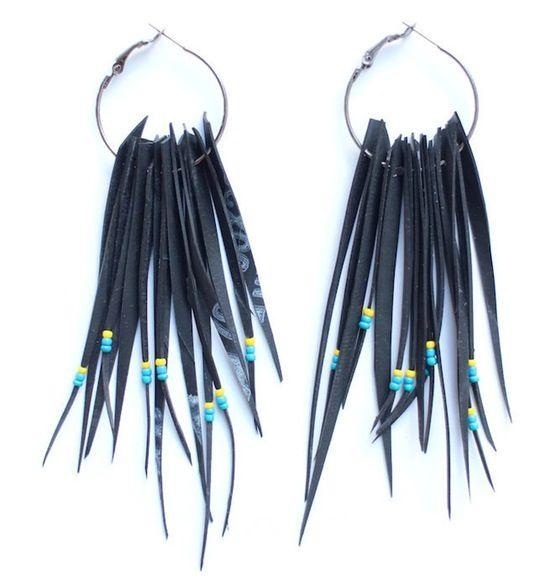 Tribal beaded upcycled inner tube earrings by Laura Zabo