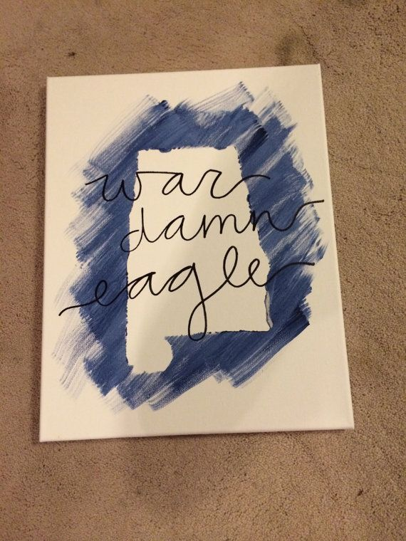 Auburn University War Damn Eagle state canvas by canvasbyliz, $14.00