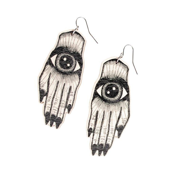 Artisan käsi korvakorut mustana // Artisan hand earrings black | Visual artist Mine Güngör, ecological and ethical design jewelry and clothing / Kuvataiteilija Mine Güngör eettiset ja ekologiset design korut ja vaatteet