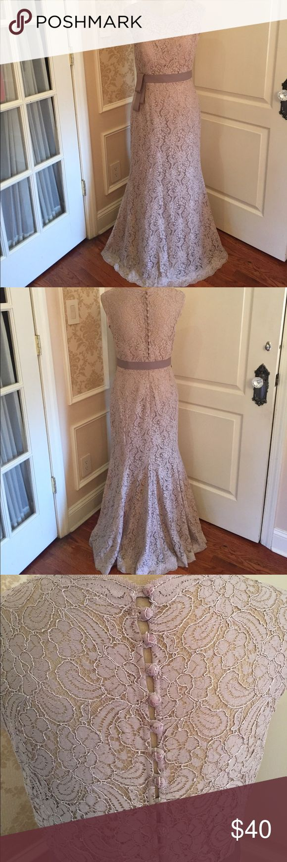 """Lace gown Beautiful blush colored sleeveless gown with blush underlay and detachable taupe sash scalloped around neckline and arms/shoulders-stunning back with 11 buttons and zipper - pretty flared bottom! Worn once by a 5""""1"""" frame (ordered in a size 10 with alterations should fit a size 6 body type) Watters Dresses Prom"""