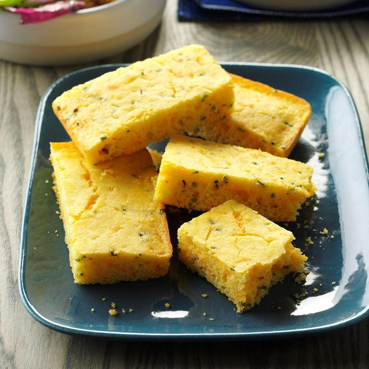 Chive-Cheese Corn Bread Recipe -This corn bread goes well with any main dish. The chives and sharp cheddar cheese give it a special flavor.