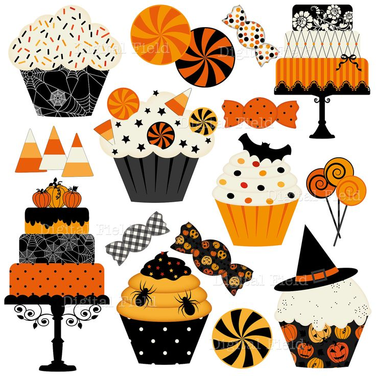 Halloween Cakes, Cupcakes and Candies Clip Art Set - Halloween digital clipart - Personal and small commercial use