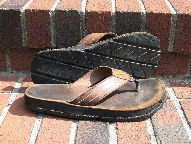 Refurbished Tire Tread Used As Soles To Make Sandals From