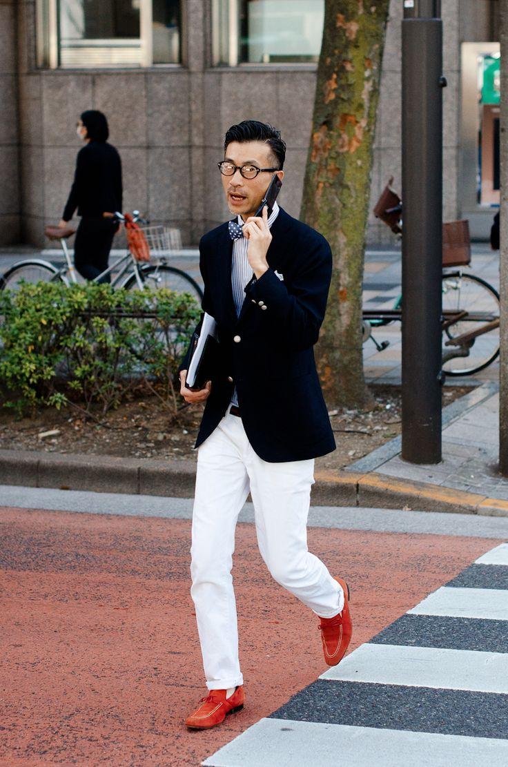 Black Blazer, White Slacks and Red Loafers