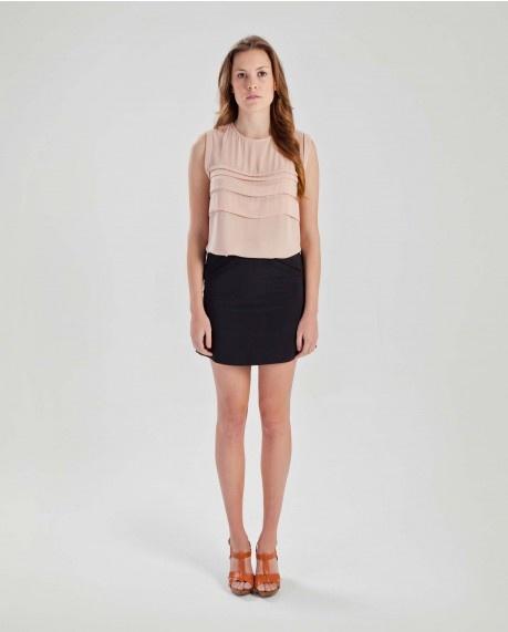 Sleeveless pintuck blouse $55.95