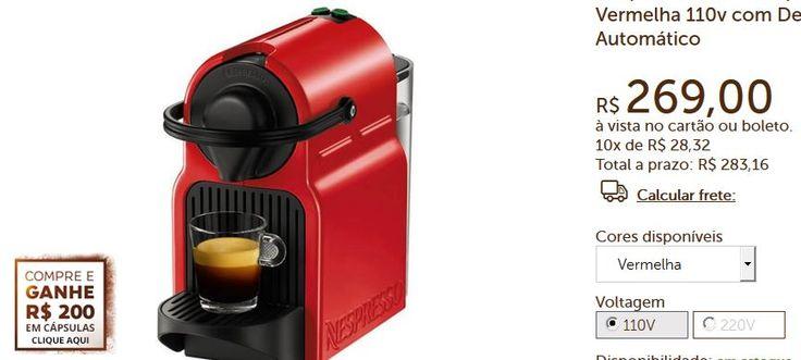 Cafeteira Nespresso Inissia  R$ 200 em cápsulas - 3 Cores Disponíveis << R$ 26900 >>