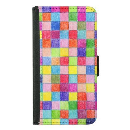 Colorful Colored In Graph Paper Squares Samsung Galaxy S5 Wallet Case - paper gifts presents gift idea customize