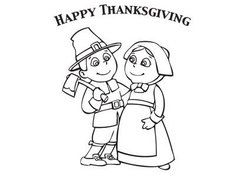 Thanksgiving Pilgrim Couple Coloring Page Kids Activity