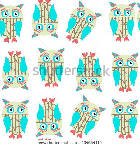 Cute kids seamless pattern with owls and seamless pattern in swatch menu, vector image. Background made seamlessly - stock vector