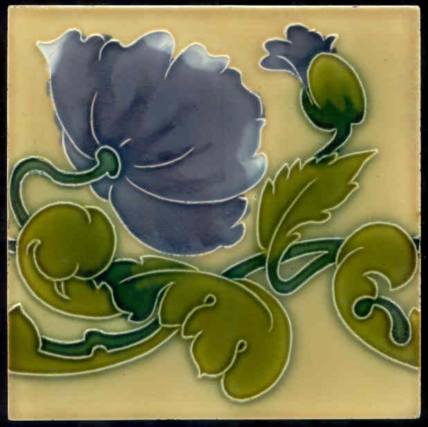 Art Nouveau tile made in Belgium