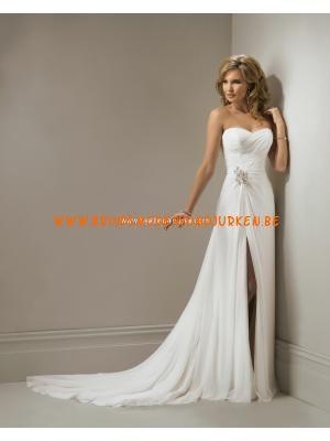 elegante eenvoudige strapless spleet chiffon jurk korset terug