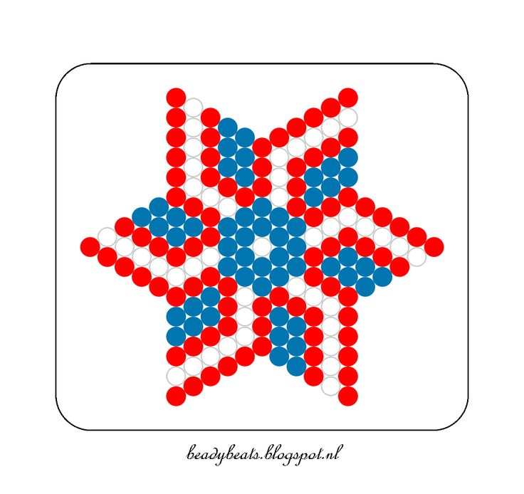 Beady Beads - Star 3b. Perler / Hama / Fusion / Melty / Pyssla Beads. Free Pattern Card! Visit my blog for more free patterns.